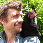 Dan Palmer with a chook